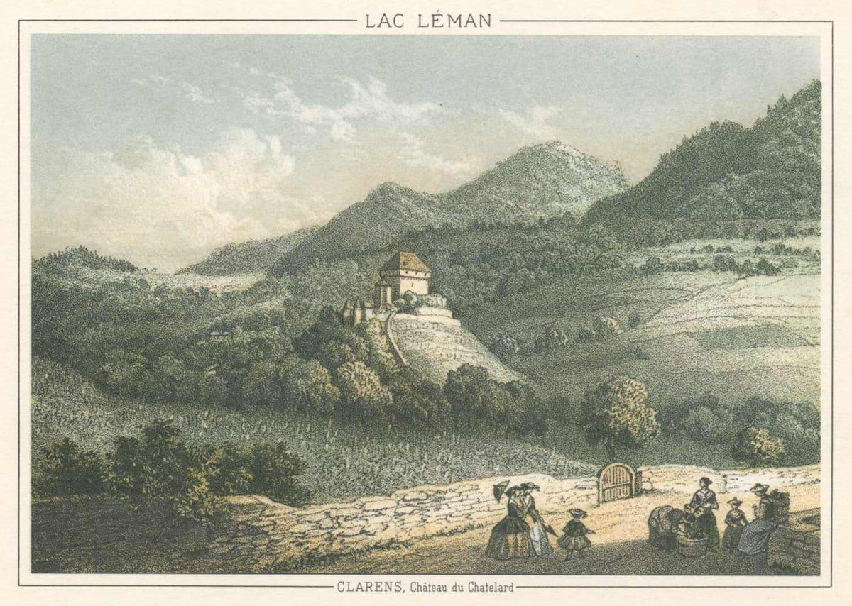 Carte postale semi-moderne, gravure. Lac Léman, Clarens, Château du Châtelard