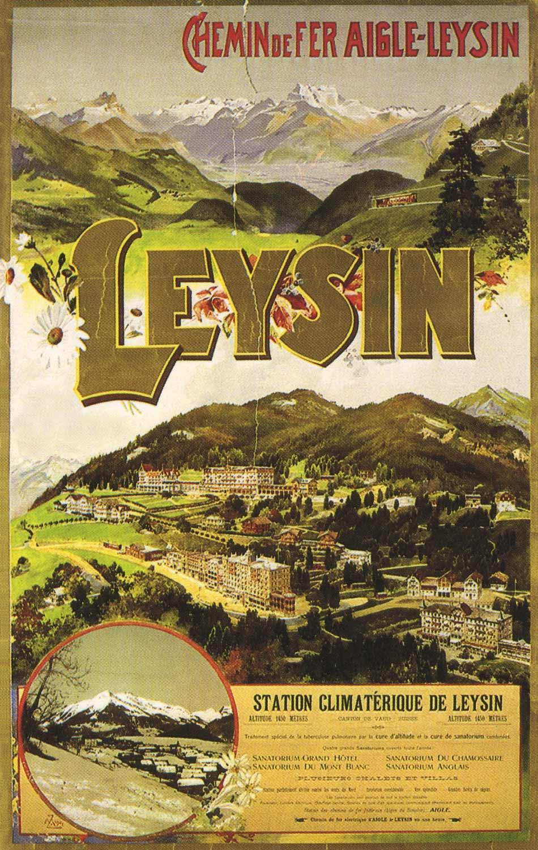 Affiche publicitaire. Station climatérique de Leysin