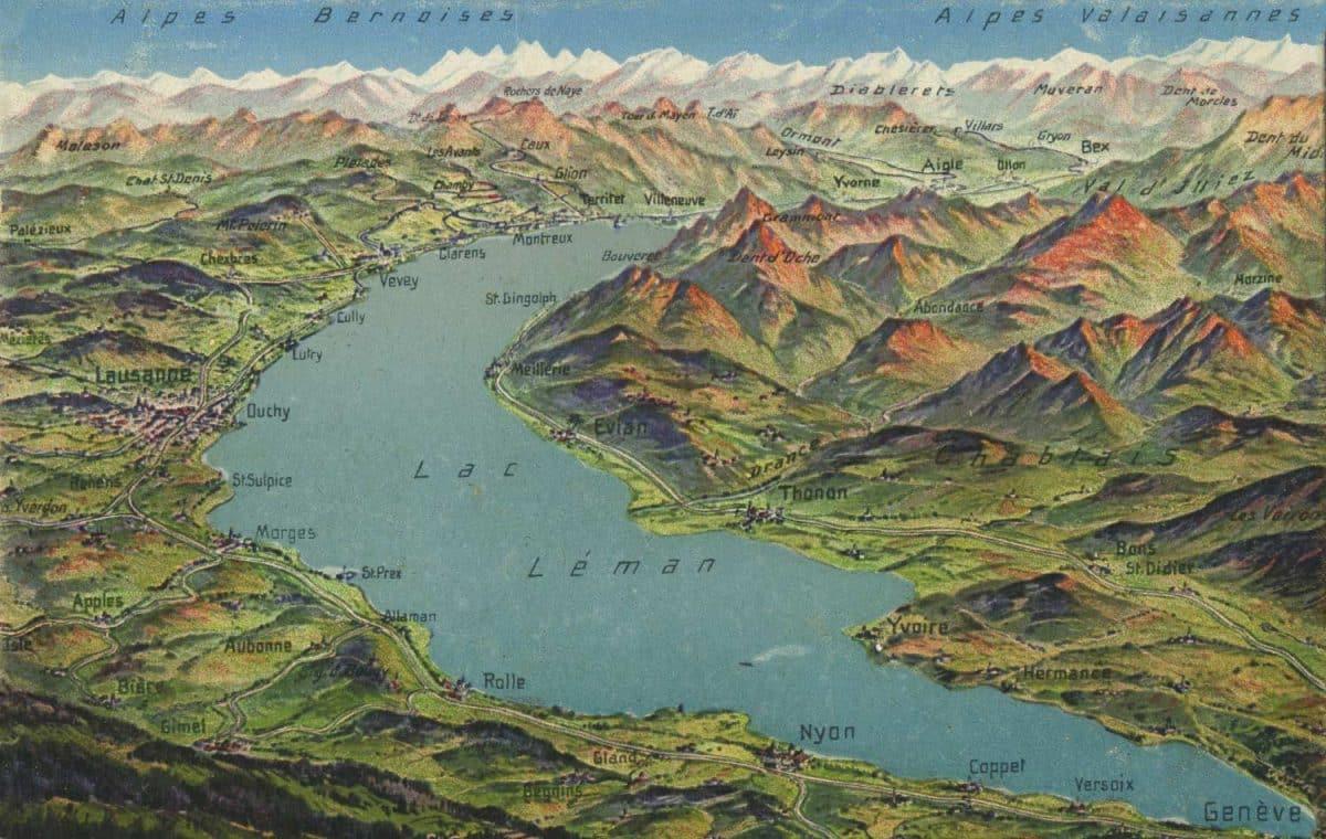 Alpes bernoises et Alpes valaisannes. Carte datée de 1923