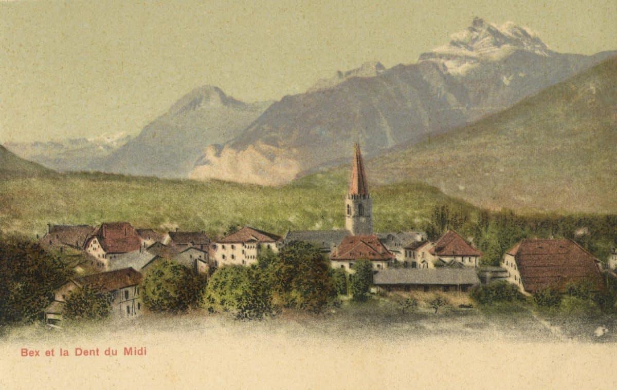 Bex et la Dent-du-Midi. © Comptoir de Phototypie, Neuchâtel (Suisse)