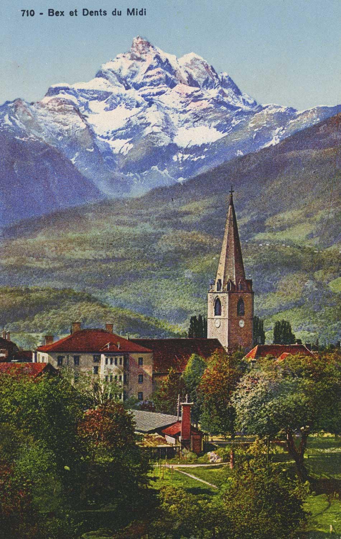 Bex et la Dent du Midi. © Société Graphique Neuchâtel, carte datée de 1937