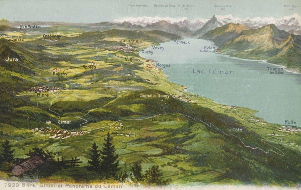 Carte postale, Bière, Gimel et Panorama du Léman
