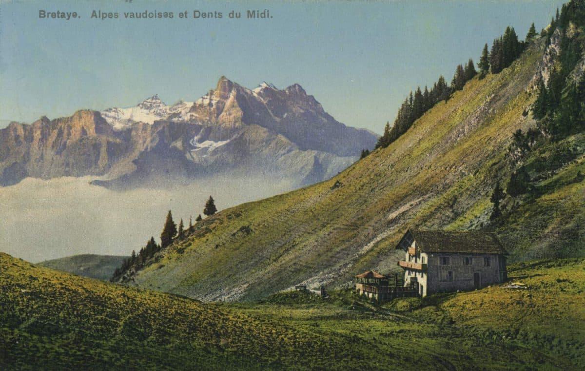 Bretaye. Alpes vaudoises et Dents du Midi © Phototypie Co., Neuchâtel, carte datée de 1912