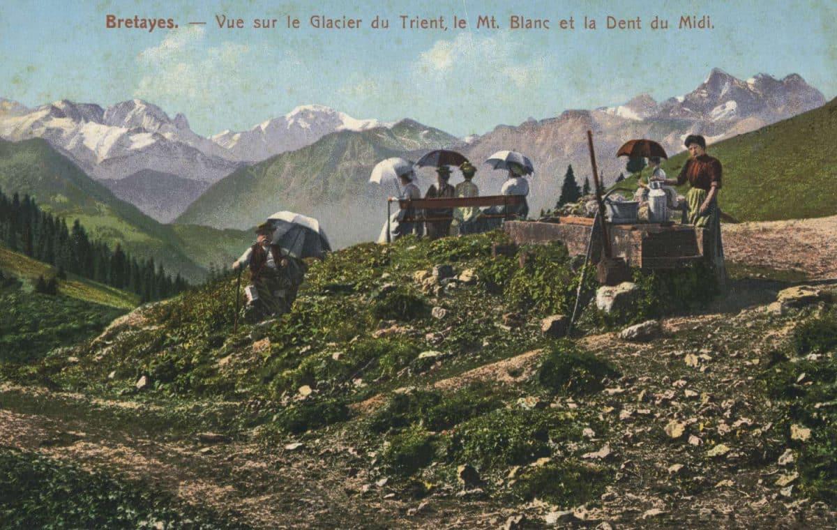 Bretayes. - Vue sur le glacier du Trient, le Mt. Blanc et la Dent du Midi © E. Rossier, Nyon
