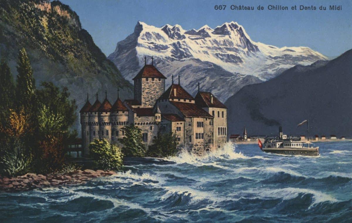 Château de Chillon et Dents du Midi, © Phototypie Co., Neuchâtel, carte datée de 1934