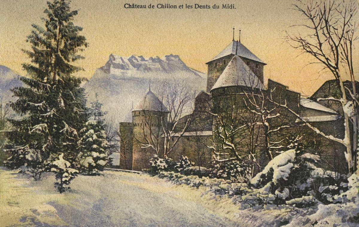 Château de Chillon et les Dents du Midi, © Edit. Art. S.A. Schnegg, Lausanne, 1911