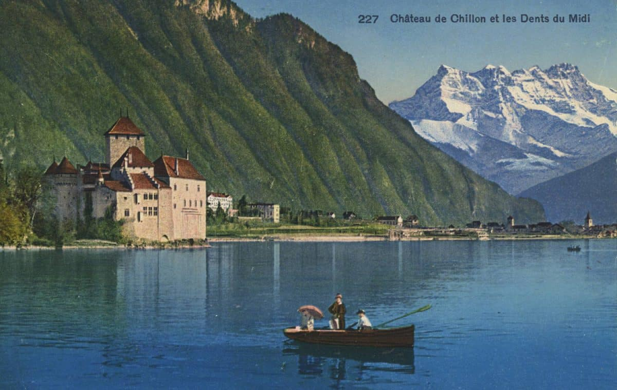 Château de Chillon et les Dents du Midi, © Phototypie Co., Lausanne, carte datée de 1937