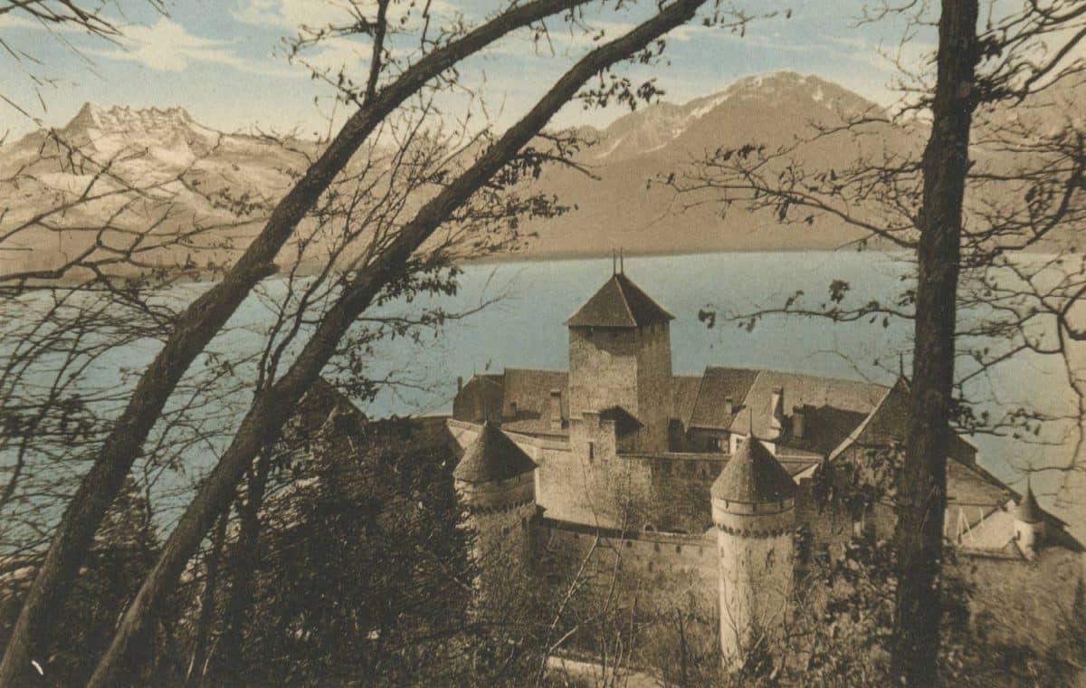 Château de Chillon, le Grammont et les Dents du Midi, © Seal. R.E. chapallaz fils, Lausanne