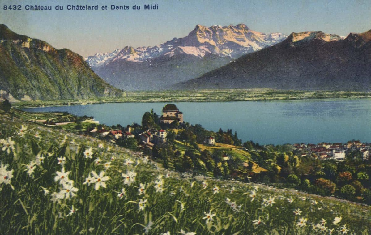 Château du Châtelard et Dents du Midi © Phototypie Co., Neuchâtel, carte datée de 1907