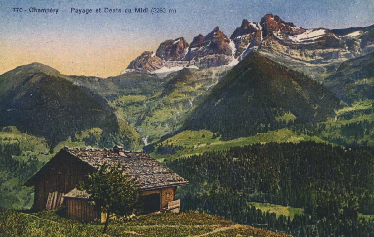 Carte postale. Champéry - Paysage et Dents du Midi (3260m)