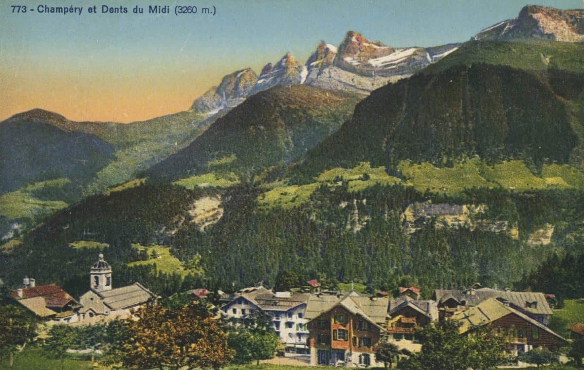 Carte postale. Champéry et Dents du Midi (3260m)