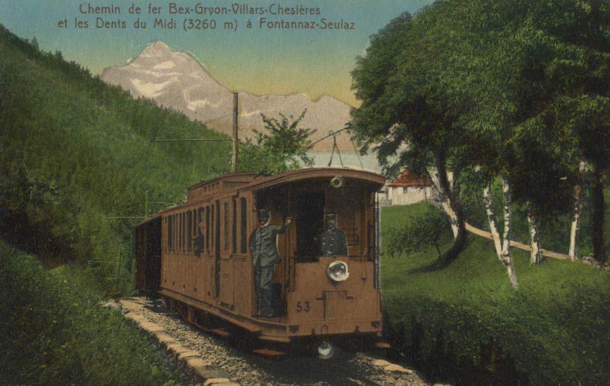 Carte postale. Chemin de fer Bex-Gryon-Villars-Chesières et les Dents du Midi (3260m) à Fontannaz-Seulaz