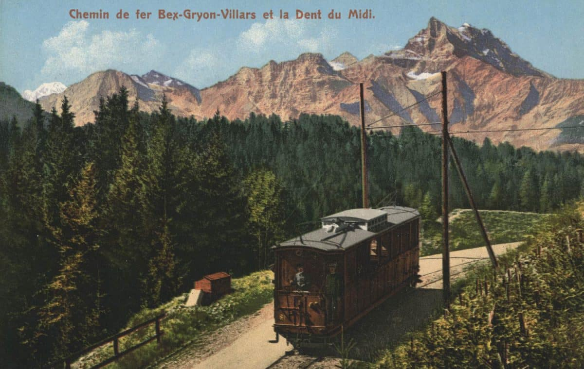 Carte postale. Chemin de fer Bex-Gryon-Villars et la Dent du Midi