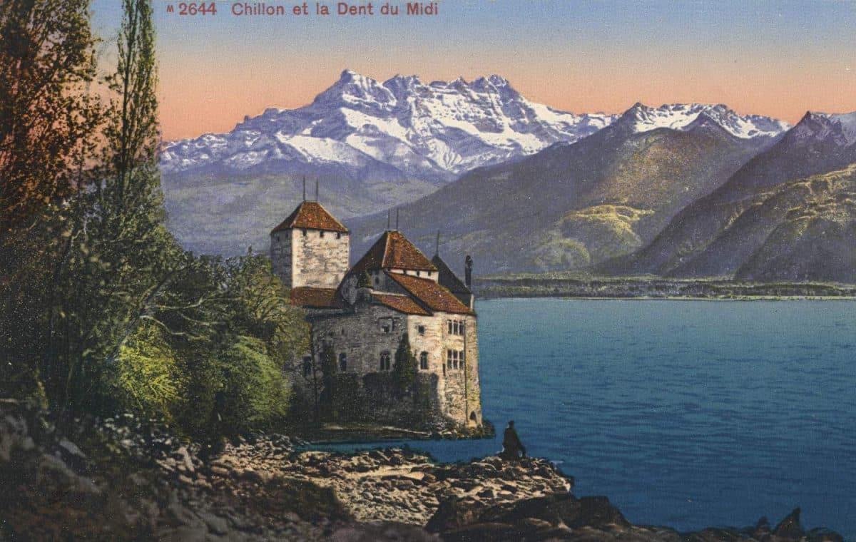 Chillon et la Dent du Midi, © Edition Photoglob, Zürich, carte datée de 1914, www.photoglob.com