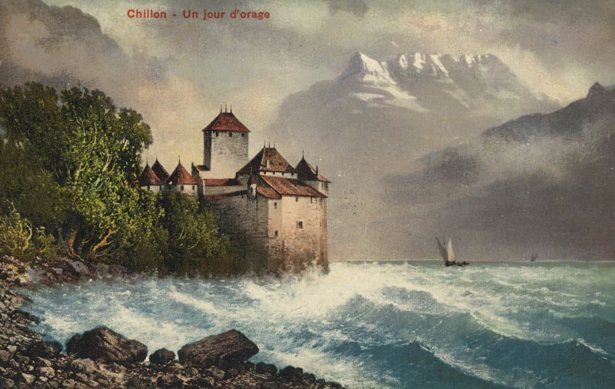 Chillon, un jour d'orage, © Th. Anderegg, Bazar, Chillon, carte datée de 1911
