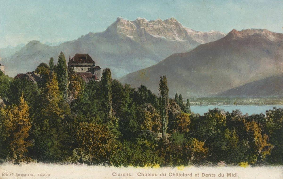 Clarens, Château du Châtelard et Dents du Midi © Phototypie Co., Neuchâtel, carte datée de 1907