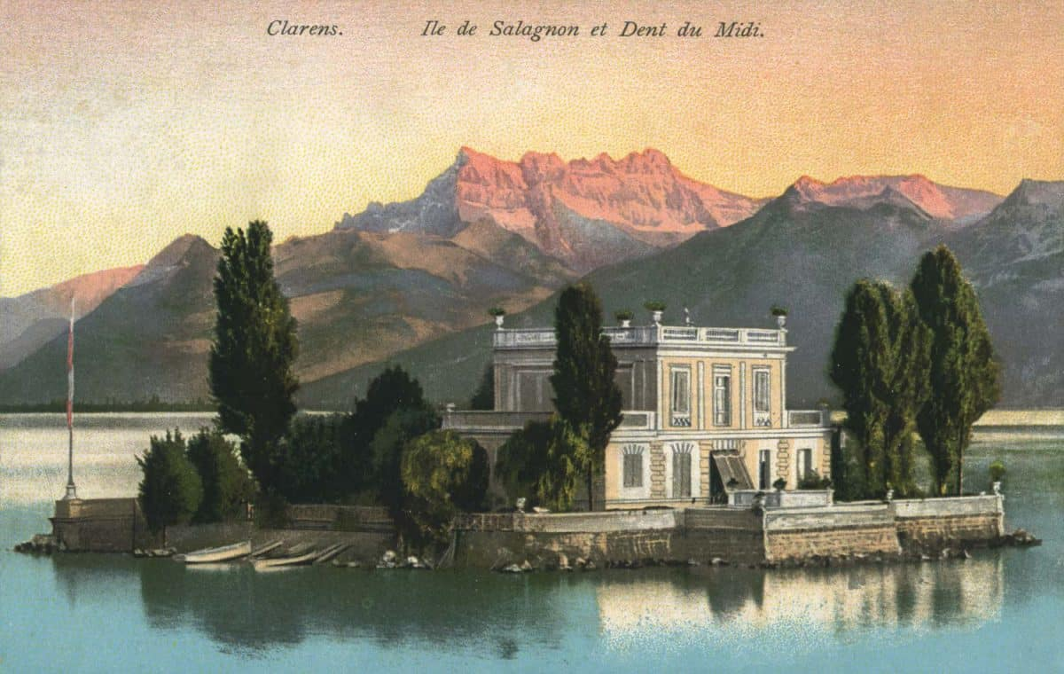 Carte postale. Clarens, île de Salagnon et Dent du Midi
