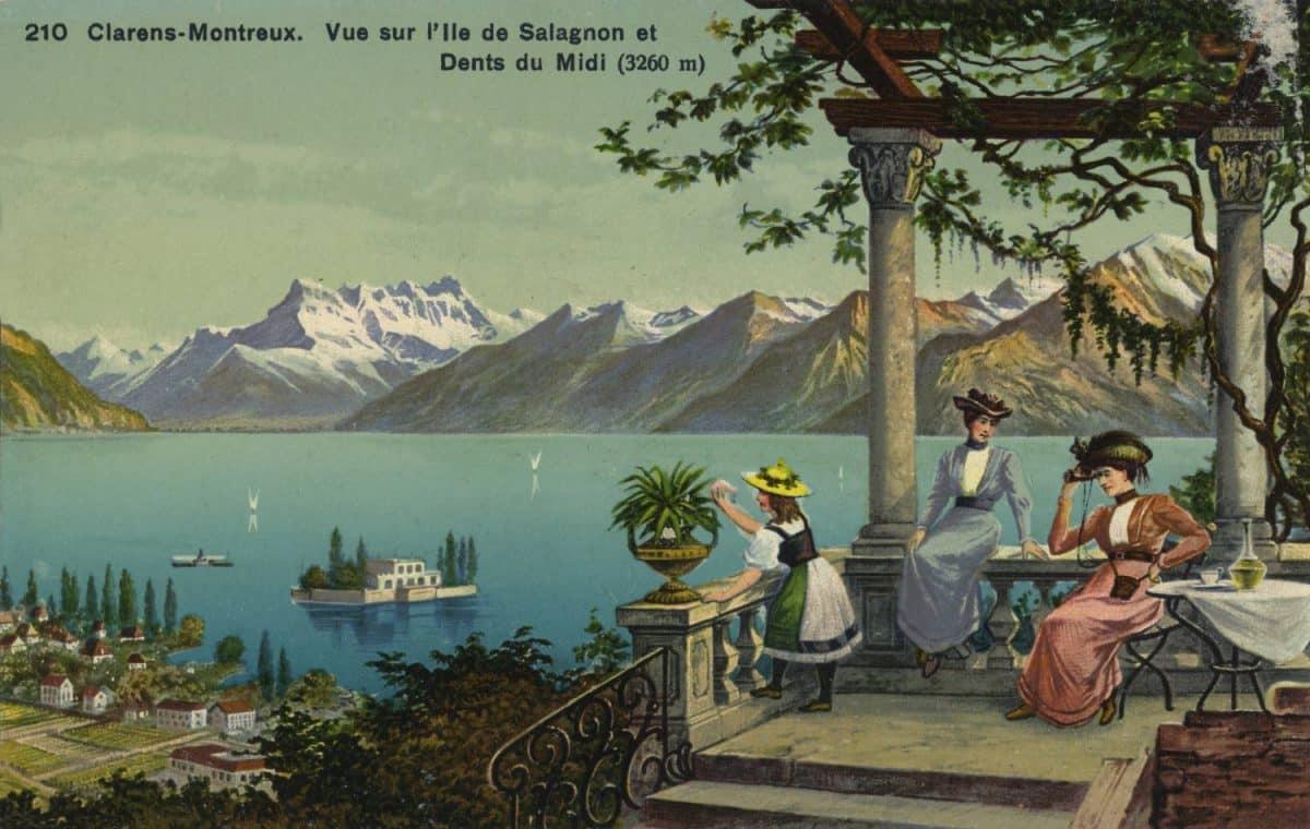 Carte postale. Clarens-Montreux. Vue sur l'île de Salagnon et Dents du Midi (3260m)