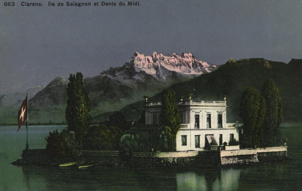 Clarens. Île de Salagnon et Dents du Midi. © Phototypie Co., Neuchâtel