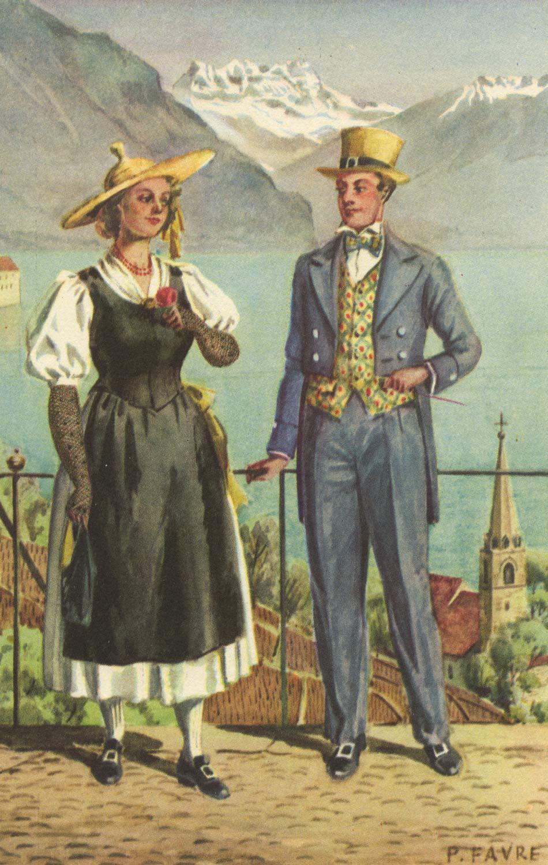 Costumes de Montreux © Association cantonale du costume vaudois, Lith. Klausfelder S.A. Vevey