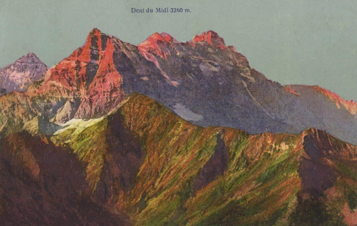 Dent du Midi 3260m © Photochromie Bern, carte datée de 1915