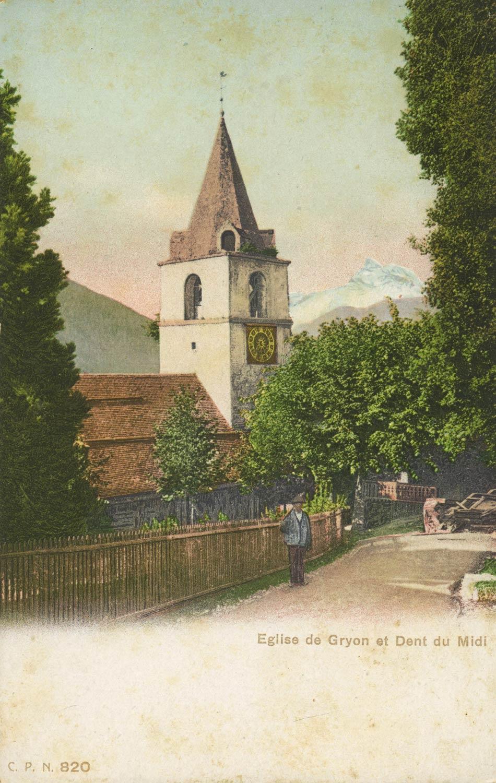 Carte postale. Église de Gryon et Dent du Midi