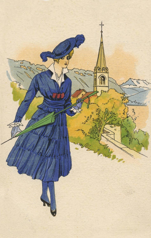 En habit d'époque devant l'église de Montreux © Edition Art. Perrochet Matile, Lausanne, carte datée de 1920