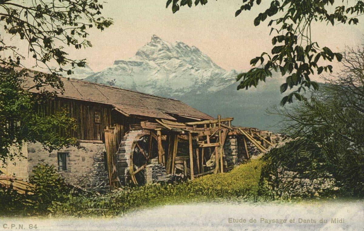 Etude de Paysage et Dents du Midi © C.P.N., carte datée de 1908