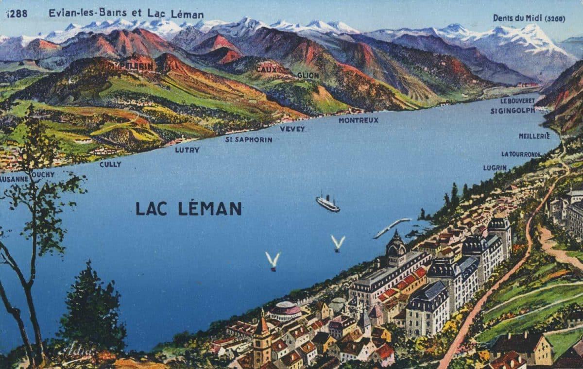 Evian-les-Bains et Lac Léman © Les Belles Editions Françaises, 2, Rue Trachel, Nice, carte datée de 1945