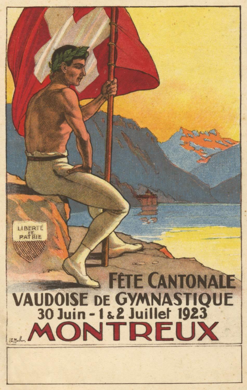 Fête Cantonale Vaudoise de Gymnastique, Montreux, 30 juin - 1 & 2 juillet 1923 © Lithos A. Marsens, Lausanne