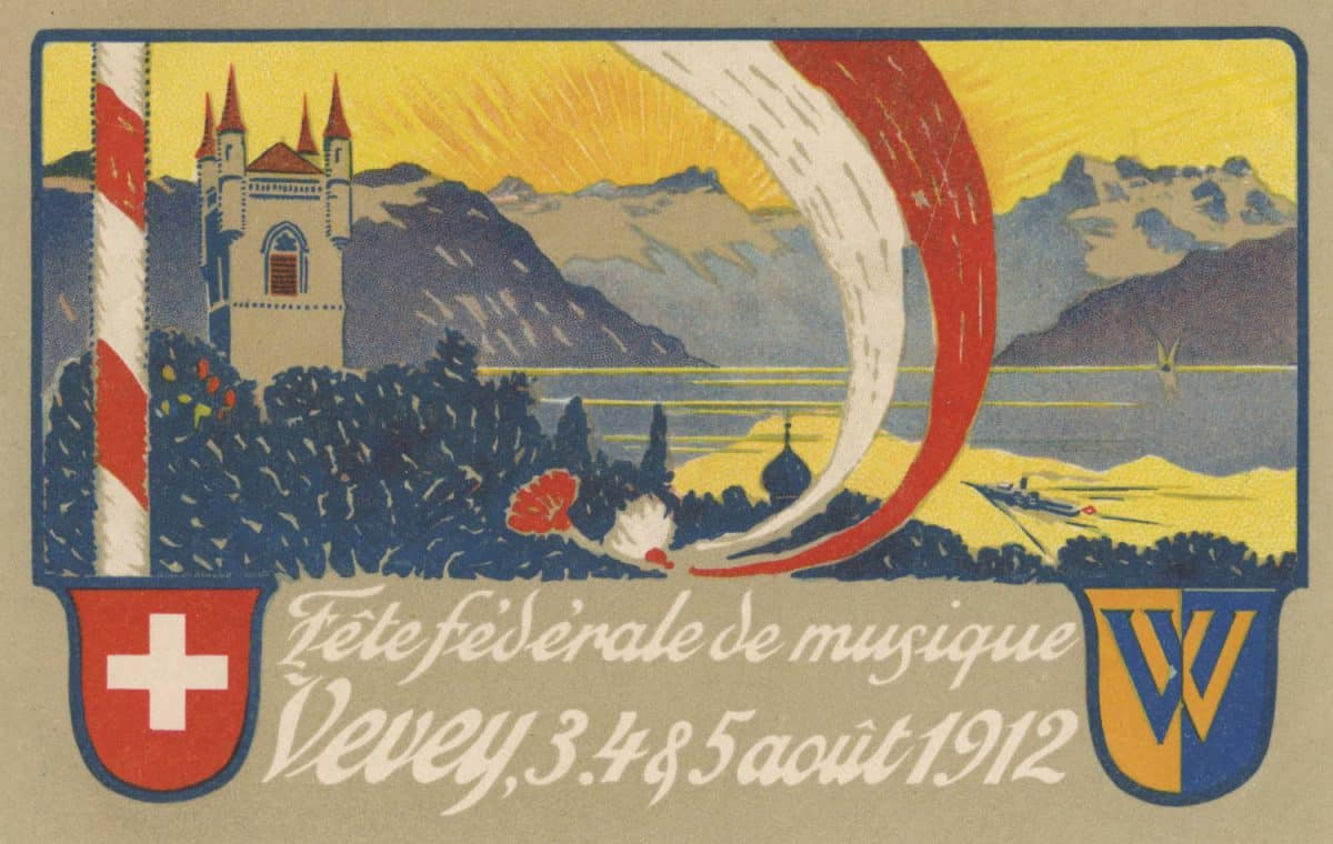 Fête Fédérale de Musique de Vevey, 3, 4, 5 août 1912 © Lith. Säuberlin & Pfeiffer, Vevey