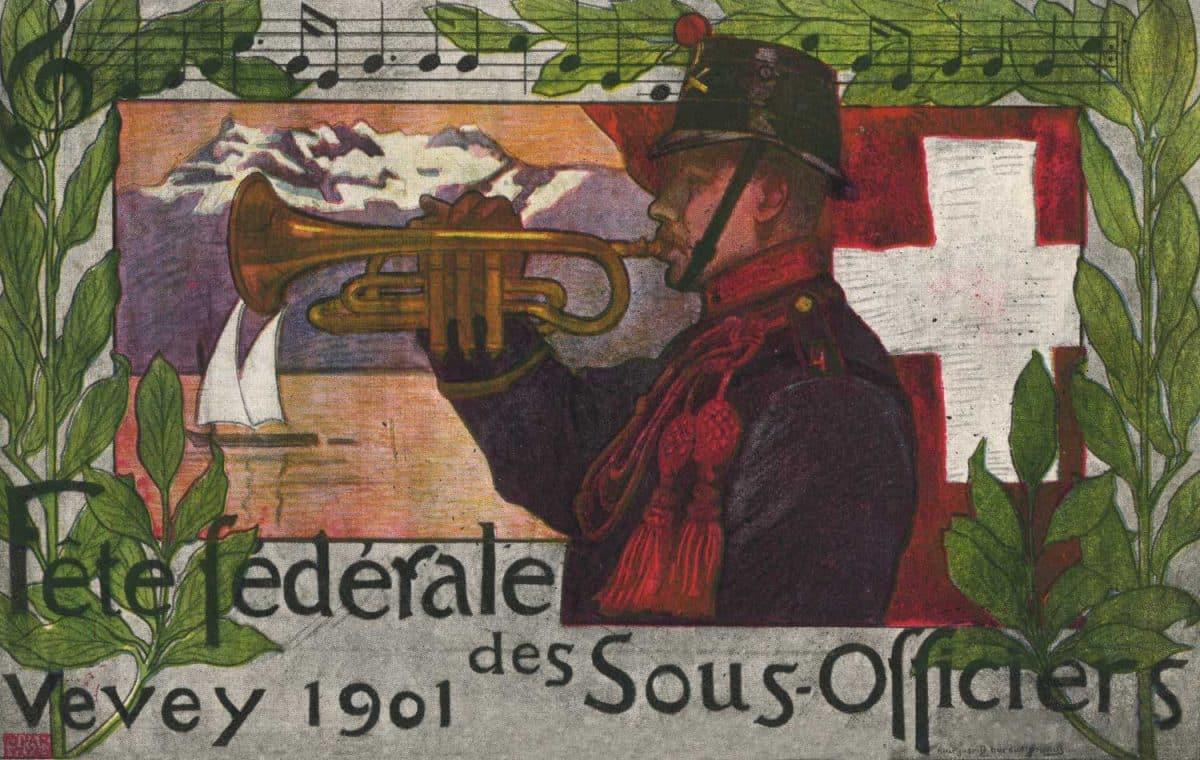 Fête Fédérale des Sous-Officiers, Vevey 1901 © Typ. et lith. Klausfelder Frères, Vevey