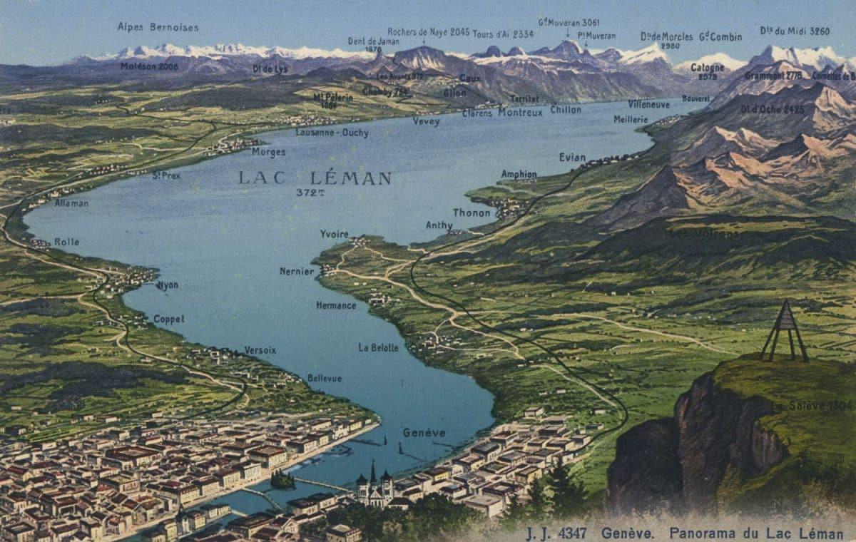 Genève. Panorama du Lac Léman © Jullien frères, Phot. Editeurs, Genève