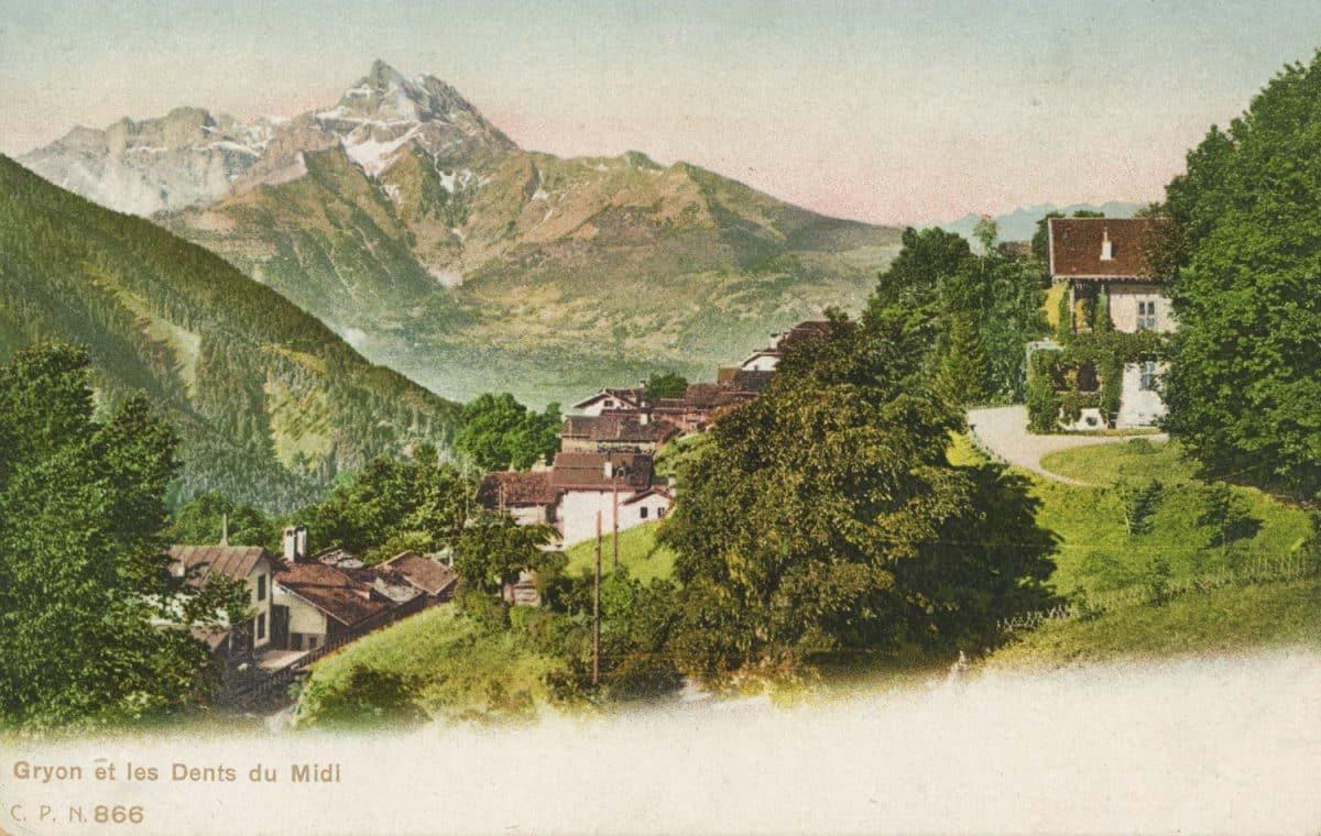 Carte postale. Gryon et les Dents du Midi