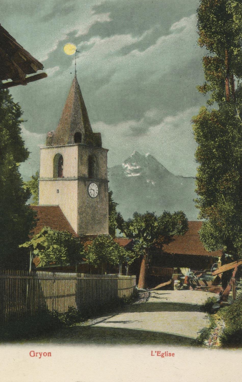 Gryon, l'église. © Artist. Atelier H. Guggenheim & Co., Editeurs, Zürich, carte datée de 1906
