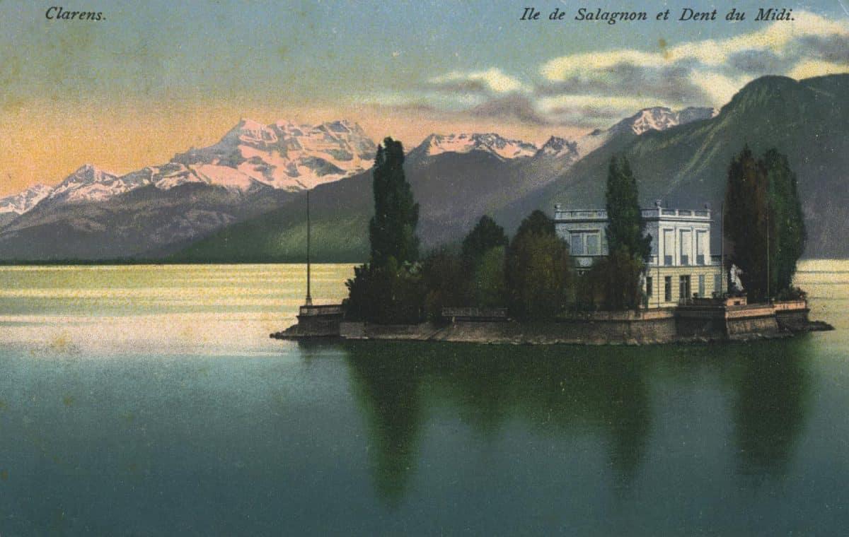 Carte postale. Île de Salagnon et Dent du Midi