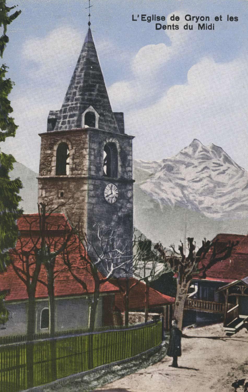 L'église de Gryon et les Dents du Midi. © Rob. E. Chapallaz, Lausanne, carte datée de 1922