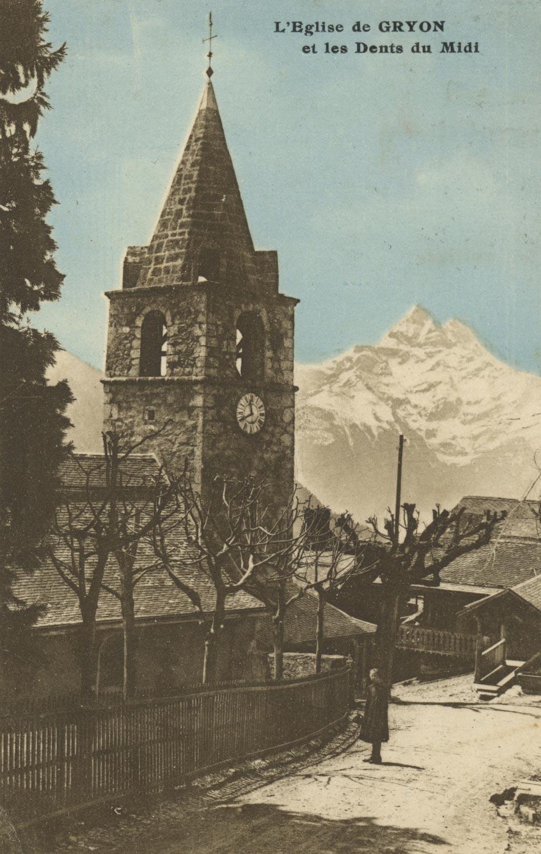 L'église de Gryon et les Dents du Midi. © Seal Edit. d'Art R.E. Chapallaz fils, Lausanne, carte datée de 1929