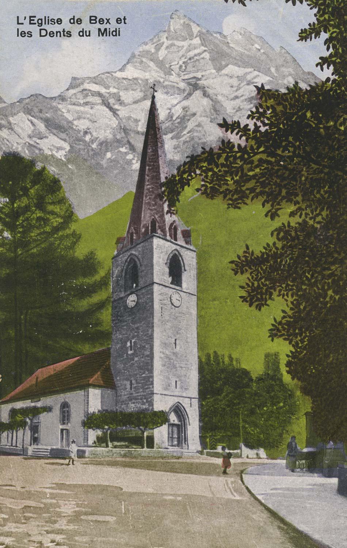 L'Eglise de Bex et les Dents du Midi. © Rob. E. Chapallaz, Lausanne, carte datée de 1920