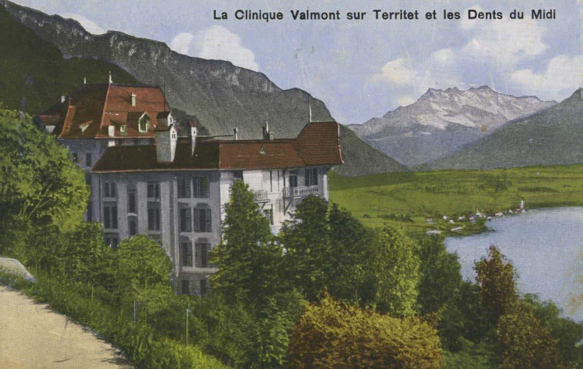 La Clinique Valmont sur Territet et les Dents du Midi © Rob. E. Chapallaz, Lausanne