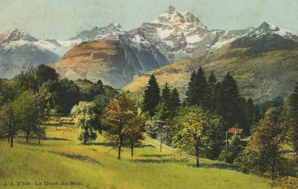 La Dent du Midi © Jullien frères Phot., éditeurs, Genève, carte datée de 1909