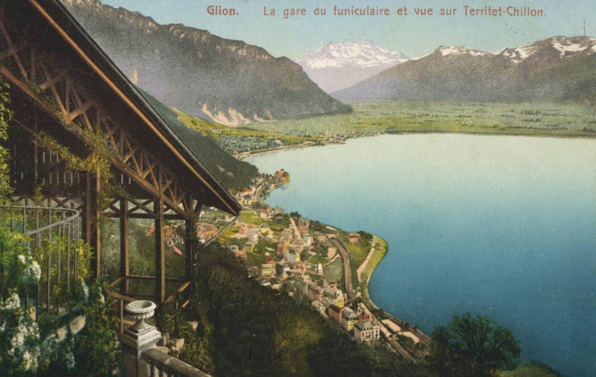 Glion. La gare du funiculaire et vue sur Territet-Chillon © E. Rossier, Nyon