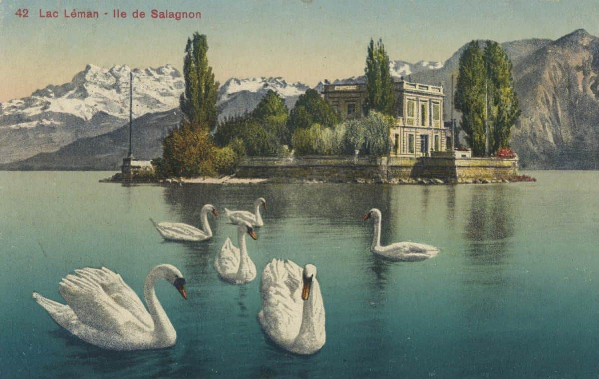 Lac Léman - île de Salagnon. © Edition Jaeger, Genève, carte datée de 1924