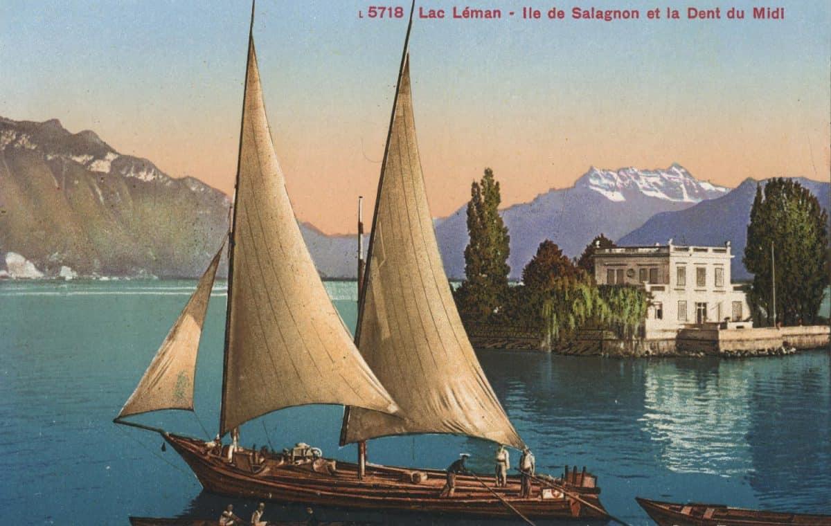 Carte postale. Lac Léman - Île de Salagnon et la Dent du Midi