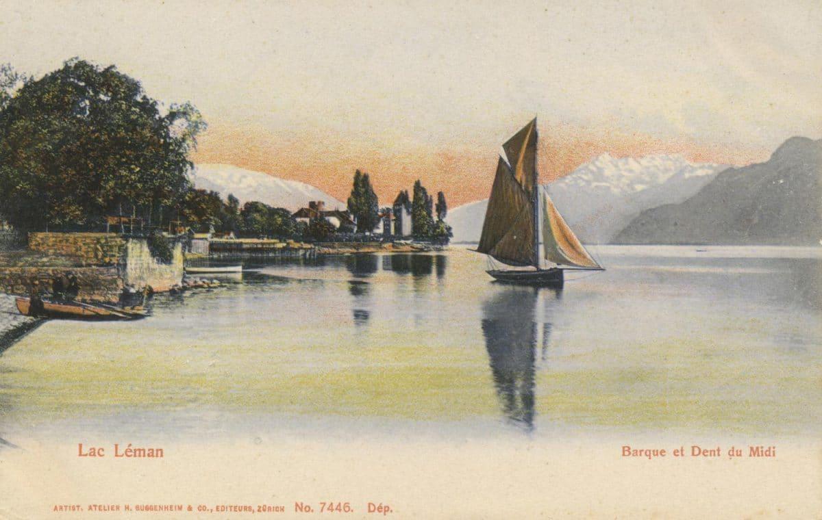 Lac Léman, barque et Dent du Midi © Artist. Atelier H. Guggenheim & Co., Editeurs, Zürich