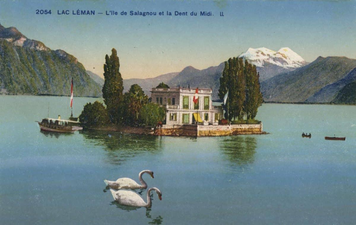 Lac Léman - l'île de Salagnon et la Dent du Midi. © Lévy & Neurdein Réunis, 44, Rue Letellier, Paris