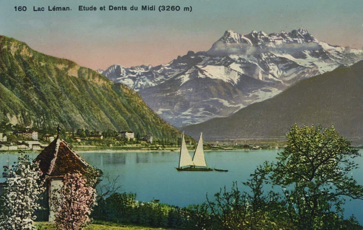Lac Léman. Etude et Dents du Midi (3260m) © Phototypie Co., Neuchâtel, carte datée de 1913