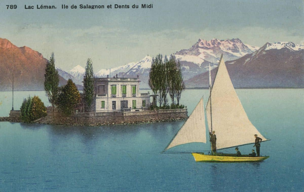 Carte postale. Lac Léman. Île de Salagnon et Dents du Midi
