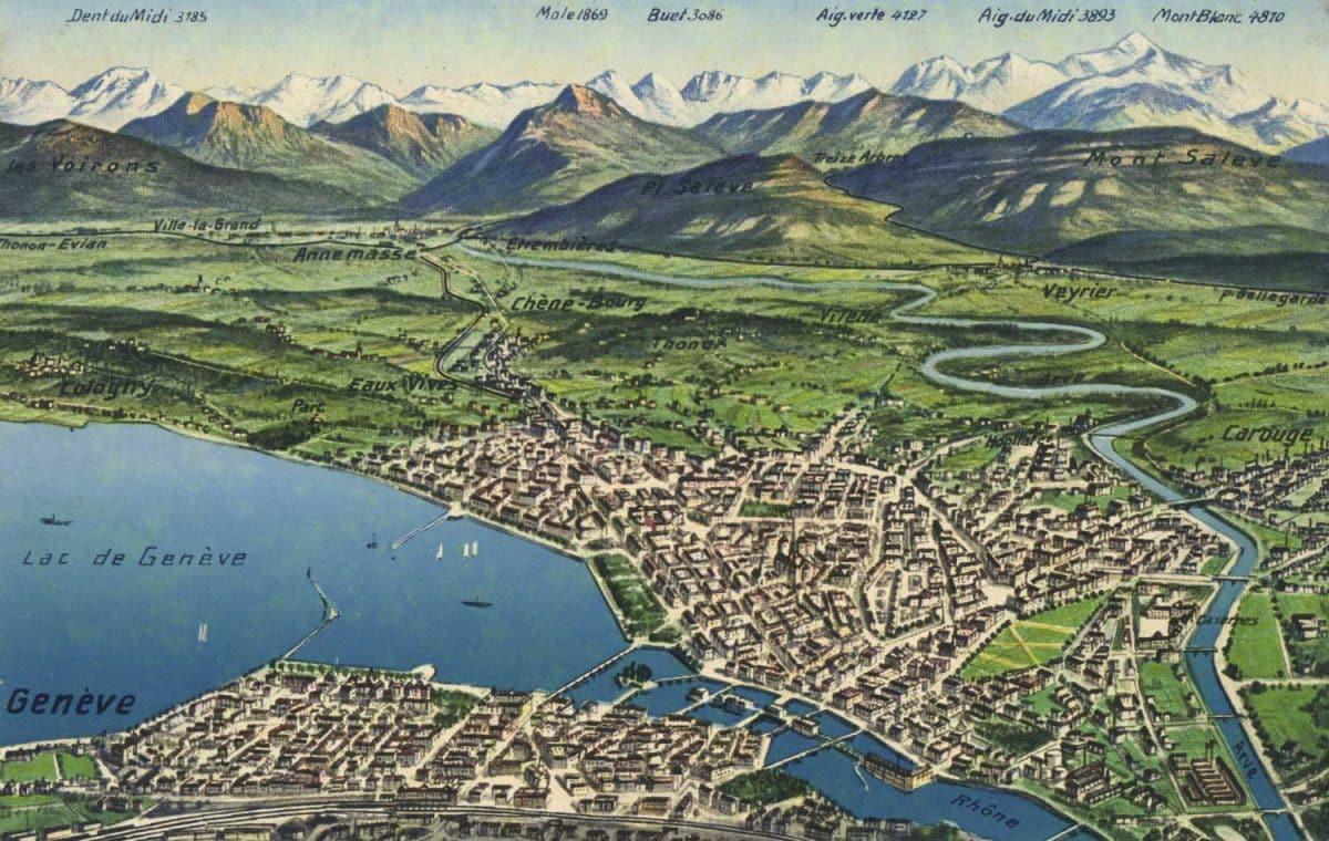 Lac de Genève © Editions Art. Perrochet & David, La Chaux-de-Fonds - Lausanne, carte datée de 1919