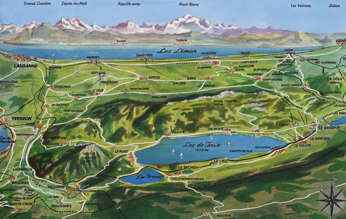 Carte postale, Lac de Joux, Le Léman et les Dents du Midi